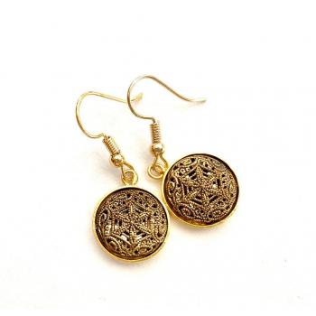 Boucles d'oreilles artisanales Asma en boutons anciens