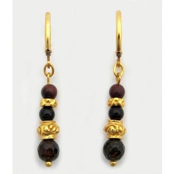 Boucles d'oreilles pierres Cornaline et Onyx