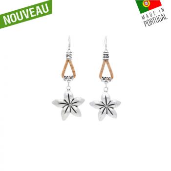 """Boucles d'oreilles en bois de liège """"Tahiti naturel"""""""