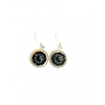 Boucles d'oreilles artisanales lune en boutons anciens