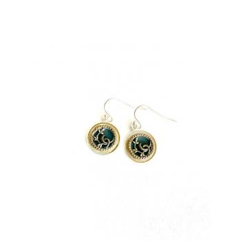 Boucles d'oreilles poétiques et artisanales en boutons anciens