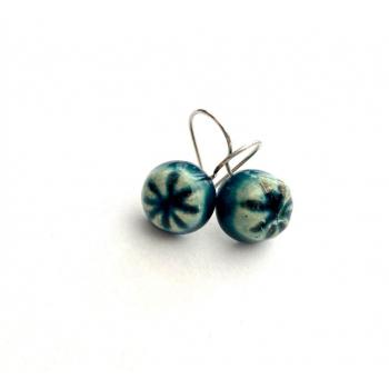 Boucles d'oreilles artisanales bleu vert Réséda en boutons anciens