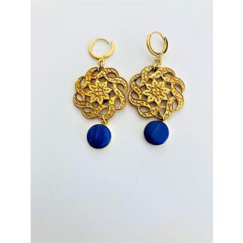 Boucles spectaculaires bleues. Boucles d'oreilles artisanales en boutons anciens