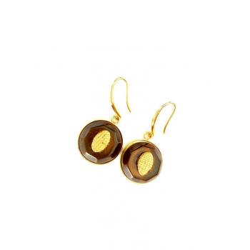 Boucles d'oreilles artisanales translucides en boutons anciens