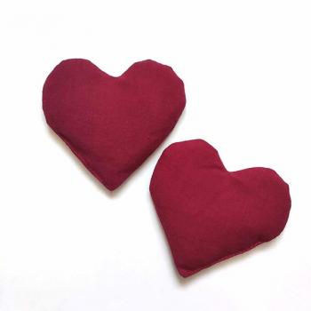 Lot de 2 bouillottes sèches de poche coeur