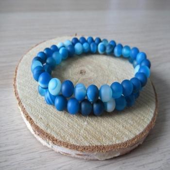 Bracelet double rang en Agate bleue dépolie