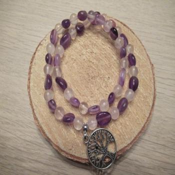 Bracelet double rang en quartz rose et améthyste