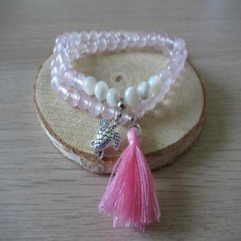 Bracelet double rang en pierre de Quartz rose et Nacre