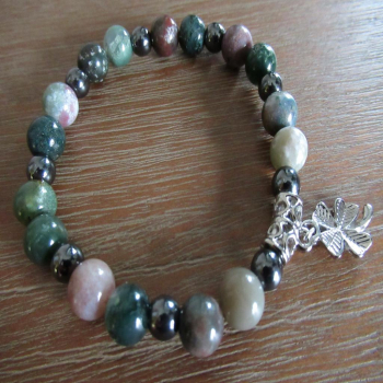 Bracelet en agate indienne et hématite