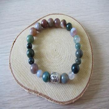 Bracelet en agate indienne et agate mousse
