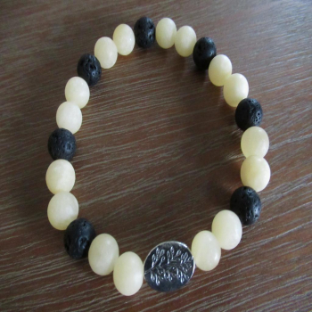 Bracelet en pierre de lave et calcite orange