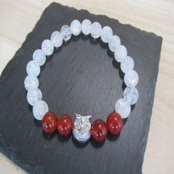 Bracelet cristal de roche et cornaline