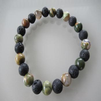 Bracelet en pierre de rhyolite et lave