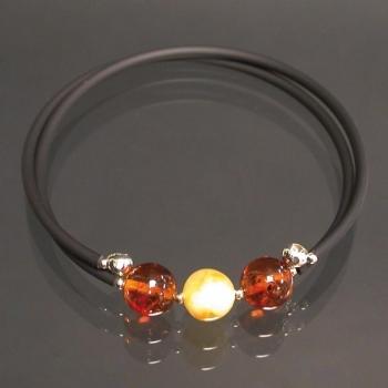 Bracelet à mémoire de forme 2 rangs en pierre d'ambre