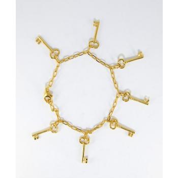 Bracelet chaîne réglable 7 clés plaqué or