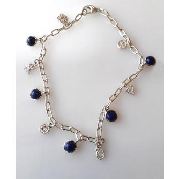 Bracelet Chaine Breloque 6 énergies + Lapis-Lazulis argent