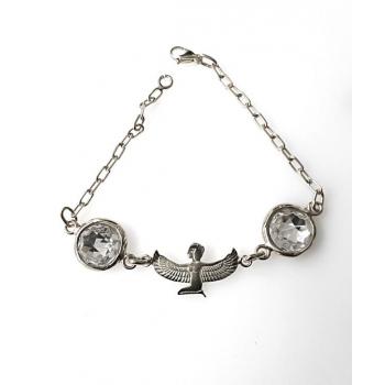 Bracelet déesse isis meditation argent crisal d'azri blanc
