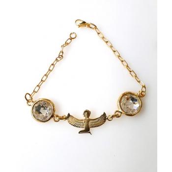 Bracelet déesse isis meditation plaqué or crisal d'azri blanc
