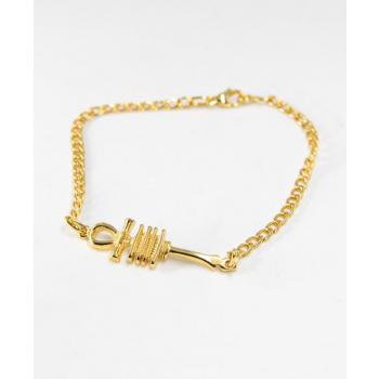 Bracelet chaîne réglable croix de vie ancienne plaqué or