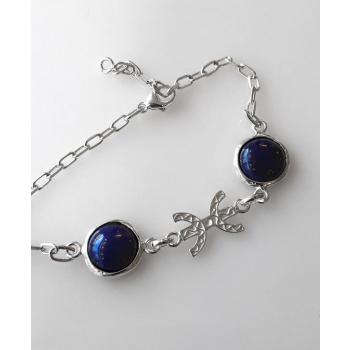 Bracelet Chaine Lapis-Lazuli Liberté / Ancrage argent massif