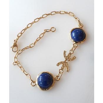 Bracelet Chaine Lapis-Lazuli Liberté / Ancrage plaqué or