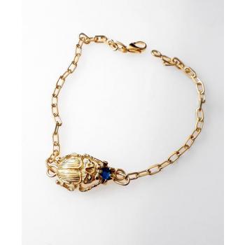 Bracelet plaqué or scarabée cristal d'azri bleu