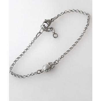 Bracelet chaîne scarabée équilibre argent massif
