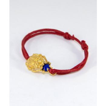 Bracelet cordon réglable scarabée et pierre Lapis Lazuli plaqué or