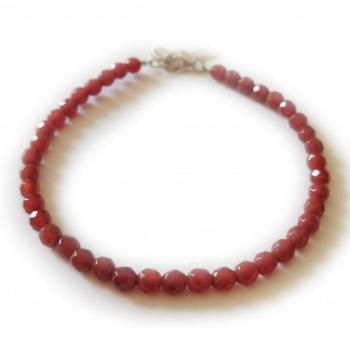 Bracelet en cornaline facetté, pierre naturelles, ∅ 4 mn