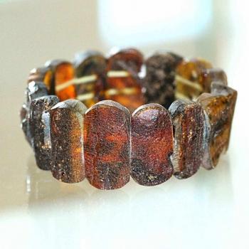 Bracelet manchette ambre noir non poli