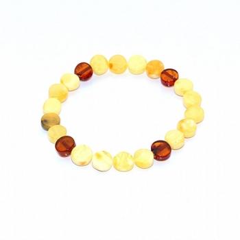 Bracelet ambre bicolore (jaune opaque et 4 perles cognac)