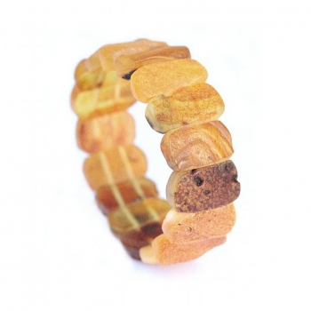 Bracelet manchette ambre jaune non poli