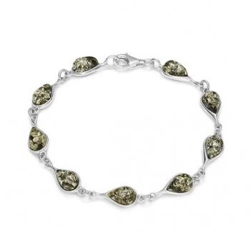 Bracelet vert en ambre de la Baltique sur argent 925.