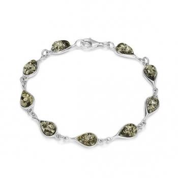 Bracelet en ambre vert sur argent 925.