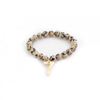 Bracelet jaspe dalmatien chiffre sept