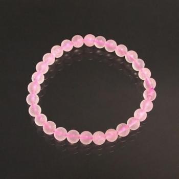 Bracelet en quartz rose dépoli 6mm
