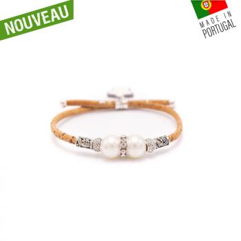 """Bracelet artisanal en liège """"2 perles"""""""