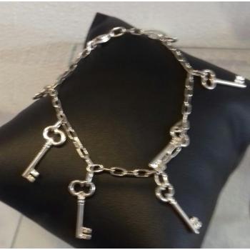 Bracelet chaîne réglable 7 clés argent massif