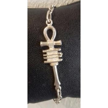 Bracelet chaîne réglable croix de vie ancienne argent massif
