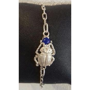 Bracelet chaîne réglable scarabée et pierre Lapis Lazuli argent massif
