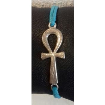 Bracelet cordon croix de vie récente argent massif