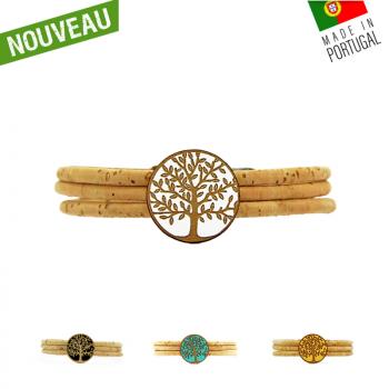 """Bracelet en liège """"Cercle arbre de vie"""" Blanc"""