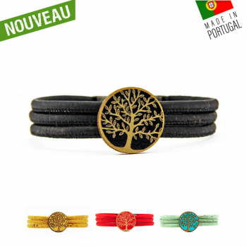 """Bracelet en liège """"Cercle arbre de vie color"""" Noir"""