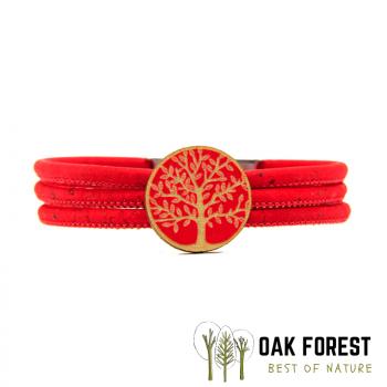 """Bracelet en liège """"Cercle arbre de vie color"""" Rouge"""