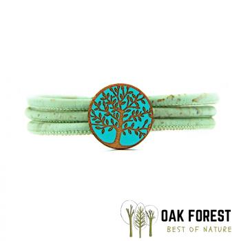 """Bracelet en liège """"Cercle arbre de vie color"""" Turquoise"""