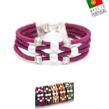 """Bracelet en liège artisanal """"Perle 4 brins"""" Marron"""