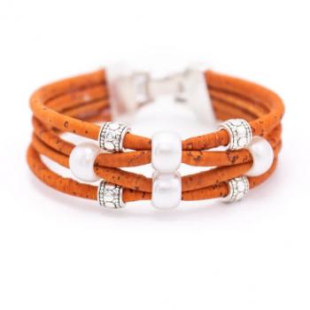 "Bracelet en liège artisanal ""Perle 4 Brins"" Orange"