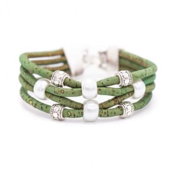 "Bracelet en liège artisanal ""Perle 4 brins"" Vert"
