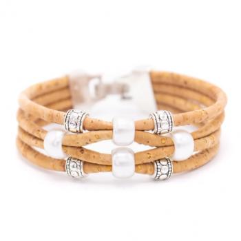 "Bracelet en liège artisanal ""Perle 4 brins"" Naturel"