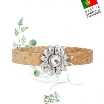 "Bracelet en liège naturel ""soleil fleuri"" - Bracelet Vegan Femme"